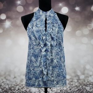 Anthropologie 21 Small Blue Leaf Blouse